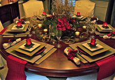 A beautiful Christmas Tablescape! Find out how to make Poinsettia flowers out of fabric, felt, or ribbon. A Christmas Gift/Favor for guests to take away. See my board [ ~Mistletoe~Poinsettias~ ] for DIY's. via South Shore Decorating Blog: Home Goods Holiday Tables