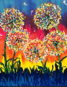 Canvas - Finger prints or round brush printsCanvas - Finger prints for an art project, diff backgroundCanvas - add fairies where floating petals areCanvas add the dandelions wishes quote to thisBut use just white finger painting for dandelions. Finger Painting, Painting & Drawing, Finger Paint Art, Diy Art, Kunst Party, Afrique Art, Wine And Canvas, Creation Art, Art Party