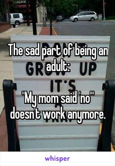 """The sad part of being an adult:  """"My mom said 'no'"""" doesn't work anymore."""