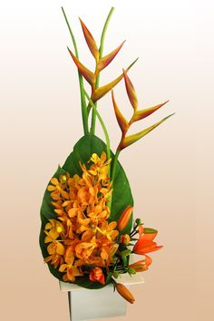 Heliconia     Vanda orchids    Asiatic Lily    Anthurium leaves