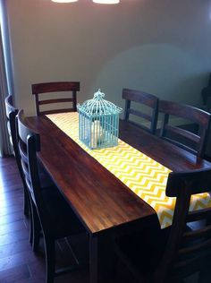 Yellow Chevron Pattern Table Runners - Buffet Server/Table Runner For Weddings or Home Decor- Customizable. $17.00, via Etsy.