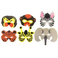 Pack of 6 Jungle Animal Foam Face Masks: Amazon.co.uk: Toys & Games