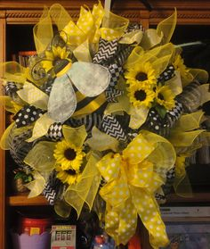 Bumble Bee and Sunflowers Deco Mesh Wreath by RamonaReindeer, $80.00