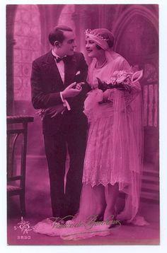 Wedding postcard in pink, 1920s.