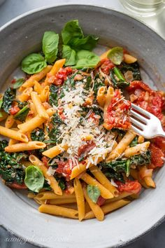 Spicy Pomodoro Sauce with Kale & Penne ~ a flavorful and healthy Meatless Monday meal that will leave you full, and satisfied. With just a few healthy ingredients and about 45 minutes, you can enjoy this spicy and delicious dish, and feel good about eating it too! www.savingdessert.com