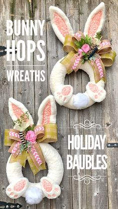 Excited to share this item from my shop: Bunny Wreath, Easter Bunny Wreath, Double Door Easter Wreath Crafts, Diy Wreath, Easter Crafts, Crafts For Kids, Easter Decor, Easter Art, Double Door Wreaths, Christmas Swags, Diy Ostern