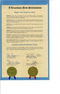 Texarkana, AR & Texarkana, TX - Joint Mayoral proclamation recognizing Diaper Need Awareness Week (Sept. 28 - Oct. 4, 2015) #DiaperNeed www.diaperneed.org