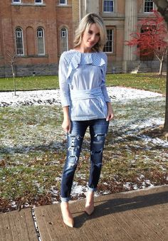 Blue and white striped ruffle top, spring outfit