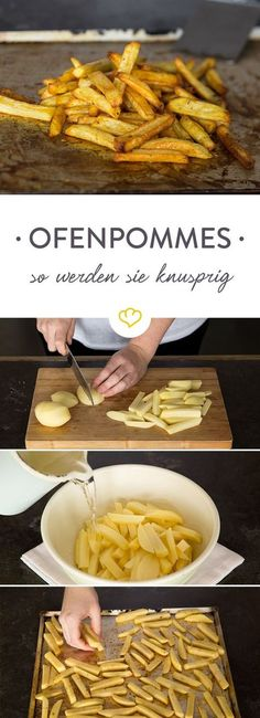 Pommes selber machen im Ofen - knusprig ohne Fritteuse - My list of the most healthy recipes Vegan Recipes, Snack Recipes, Snacks, Grilling Recipes, Cooking Recipes, Making French Fries, Tasty, Yummy Food, Fries In The Oven