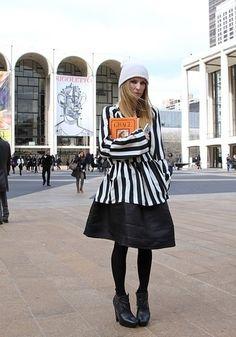 New York Fashion Week. Stripes in street style.