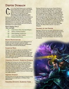 Depth Domain Cleric for anyone who would like to approach a more subterranean combat - UnearthedArcana Dungeons And Dragons Classes, Dungeons And Dragons Characters, Dungeons And Dragons Homebrew, D D Characters, Fantasy Characters, Cleric Domains, Dnd Cleric, 5e Dnd, Dnd Classes