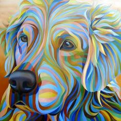 ''I remember the day I chose stripes as my style of choice. Though I had done quite a few striped drawings in high school I didn't realiz. Dog Pop Art, Dog Art, Animal Quilts, Watercolor Animals, Watercolour, Animal Posters, Dog Portraits, Animal Paintings, Bird Art