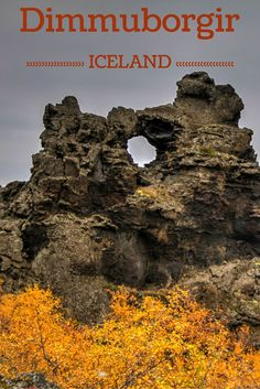 """Dimmuborgir is a park with crazy shaped lava rocks in North Iceland. Beware that by walking those path you might get stuck with the song """"Denver the last dinosaur"""" in your head - Click to open the guide with many photos and detailed information to plan your visit"""