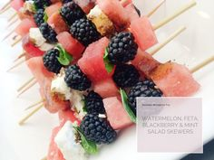 Yum! Watermelon, Blackberry, Feta and Mint Salad Skewer (with a Balsamic Reduction)   PepperDesignBlog.com