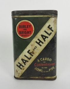 Vintage Half and Half Metal Collectible Advertising Pocket Tobacco Tin. Burley and Bright Tobacco  VATC850  ...   For Sale
