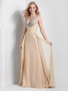 A-line/Princess Halter Sleeveless Beading Sweep/Brush Train Chiffon Dresses http://www.sheadline.com  http://www.sheadline.com/index.php/prom-dresses.html