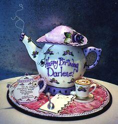 teapot cake with white chocolate tea cup, soon, napkin, invite ,etc Teapot Cake, Teapot Cookies, Tea Cakes, Cupcake Cakes, Cupcakes, Beautiful Cakes, Amazing Cakes, Rosebud Cakes, Alcohol Cake