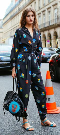 Valery Kaufman in a Stella McCartney jumpsuit and Fendi leather bag blue bag bug