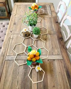 Popsicle sticks honeycomb table runner for a bee themed party or baby shower with bee skeps Baby Shower Themes, Baby Shower Decorations, Table Decorations, Somebunny Loves You, Bee Party, Bee Theme, Bees Knees, Deco Table, Diy And Crafts