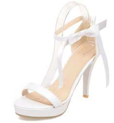 XRU Women's sweet bowknot elegant open toe thick heel witn ankle strap stiletto platforms PU sandals White >>> Hurry! Check out this great product : Lace up sandals