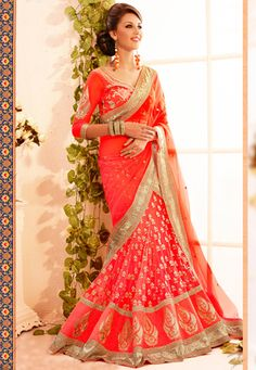 Buy online sarees such as silk saris, indian sarees and designer sarees at Glitter Designz. Shop online Indian saris and bridal sarees of good quality and rich in look at best price and get Express shipping worldwide. Orange Lehenga, Pink Lehenga, Lehenga Style Saree, Lehenga Saree, Latest Indian Saree, Indian Sarees Online, Saris, Indian Dresses, Indian Outfits