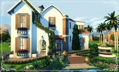 So pretty! I believe base game as well! Sims 4 House Plans, Sims 4 House Building, Building Games, Lotes The Sims 4, Sims Cc, Sims 4 Family, Sims 4 House Design, Casas The Sims 4, Sims 4 Cc Packs