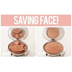 Save your crushed powders and restore them to new again! You can fix broken or crumbled makeup powders by simply adding 5-10 drops to the crushed power of 70% alcohol (not rubbing alcohol as it doesn't work as good, 70% alcohol is normally found in art supplies stores), mix together and re-form in the compact with a small spatula or tea spoon. Let dry for a few hours.