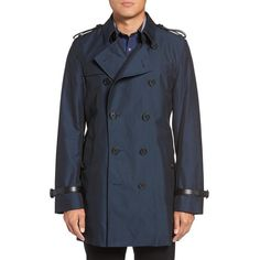 Men's Burberry Kensington Double Breasted Trench Coat ($2,295) ❤ liked on Polyvore featuring men's fashion, men's clothing, men's outerwear, men's coats, flint blue, mens trench coat, mens double breasted coat, mens waist belt and mens blue trench coat