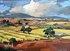 """""""Paso Robles"""" by Carla Bosch. Stunning landscape with golden-green fields and distant purple mountains."""