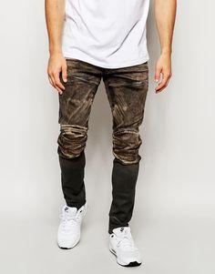 G-Star Jeans 5620 Elwood 3D Zip Knee Super Slim Fit Slander Black Aged Cob 48