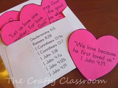 Printable Love Bible Verses for Children: Learn key scriptures for Valentine's Day! craftyclassroom