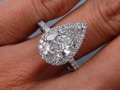 Pear Shape Diamond Engagement Ring 3.53ct EGL by blueriver47, $26980.08