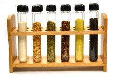 Test Tube Spice Rack, Wooden Rack with 12 Borosilicate Glass Test Tubes Jared