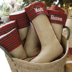 Suzanne Kasler Burlap and Red Plaid Stockings, available at ballarddesigns.com