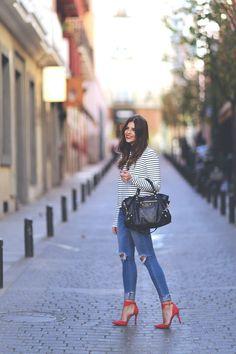 Striped Shirt / Balenciaga Bag / Ripped Denim