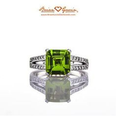 Brian Gavin Diamonds princess peridot split shank ring #jewelry