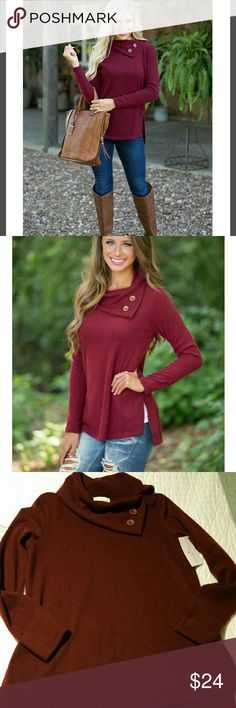 Button neck sweater This sweater is incredibly soft. Very cute neckline with the button detail. Flattering fit. Lovely color.  Brand new, never worn!   96% polyester 4% spandex Tops