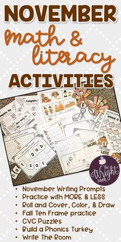 If you love using themed activities in your classroom, then THIS NOVEMBER SET IS FOR YOU! Your students will love working on these activities in centers, small group, whole group, and even at-home practice!!! With colored and printer friendly versions, this will be a great addition to your classroom. Math and Literacy objectives are worked on all while you students are having fun. Perfect for Kindergarten or those first graders who need a little extra help.