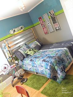 """Wall colors!  That's a good """"boy-ish"""" turquoise, and we were going to pair with grey anyway.  The lime green is cute with it... Ruben's room."""