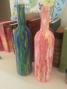 Glass art on pinterest 282 pins for Can acrylic paint be used on glass bottles