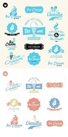 Ice Cream Menu, Ice Cream Logo, Ice Cream Brands, Retro Vintage, Vintage Fonts, Ice Cream Illustration, Ice Cream Packaging, Ice Cream Design, Vintage Ice Cream