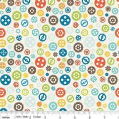 Riley Blake Fun and Games Wheels & Cogs 100% Cotton Fabric FQ Yardage Mechanics