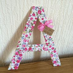 Pink Floral Decorative Letters Fabric Wrapped by CarrowayCottage