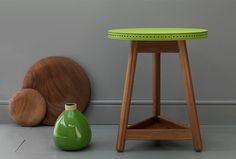Green leather Brogue table by Bethan Gray for G