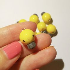 Items similar to Kawaii Lightbulb,Yellow Lightbulb,Kawaii Polymer Clay,Polymer Clay Jewelry on Etsy