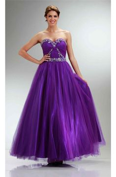 Gorgeous Ball Gown Sweetheart Purple Tulle Beaded Prom Dress