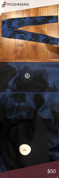 Lululemon Blue and Black Flower Pants NWOT, never worn, comfortable soft blue and black flowers lululemon. (Willing to negotiate price or trade) lululemon athletica Pants Leggings