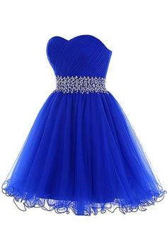 AHC145 Royal Blue Beaded Tulle Homecoming Dresses 2017