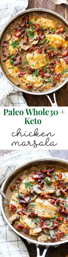 This one-skillet paleo chicken marsala is loaded with flavor! Juicy chicken a creamy mushroom sauce and crispy savory bacon make this a recipe youll want in your dinner rotation! Its dairy-free gluten-free Paleo and compliant. Dairy Free Recipes, Paleo Recipes, Cooking Recipes, Gluten Free, Paleo Meals, Milk Recipes, Paleo Whole 30, Whole 30 Recipes, Paleo Dinner