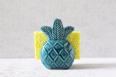 Pineapple Sponge Holder - Pineapple Napkin Holder - Pineapple Decor - Pineapple Kitchen by PotteryLodge on Etsy www.etsy.com/...